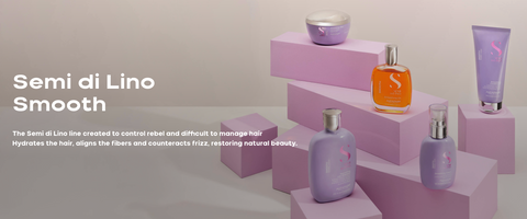 Semi di Lino Smooth The Semi di Lino line created to control rebel and difficult to manage hair Hydrates the hair, aligns the fibers and counteracts frizz, restoring natural beauty.
