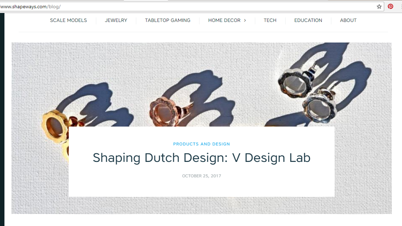 """V DESIGN LAB - Shaping Dutch Design"", Shapeways says"