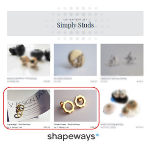 V DESIGN LAB Stud Earrings Featured on Shapeways!
