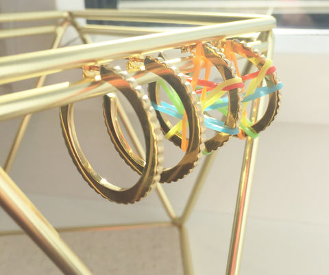 Stretch = FUN - INGRANAGGI hoop Earrings with Colourful Elastic bands