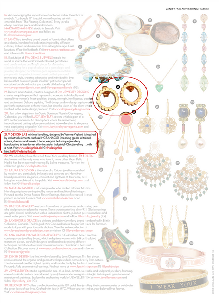 V DESIGN LAB Jewellery by Valeria Vigliani Featured in Vanity Fair UK May Issue 2018