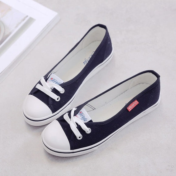 Women Spring Light Canvas Shoes Slip-on Korean Style