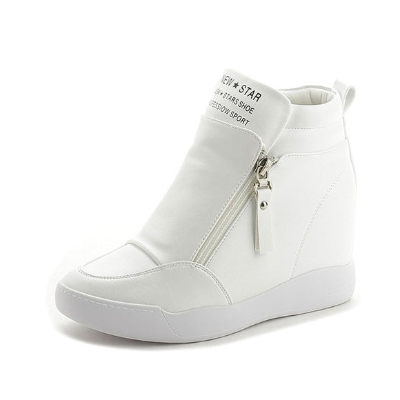 Women Shoes with zip  increased platform sole