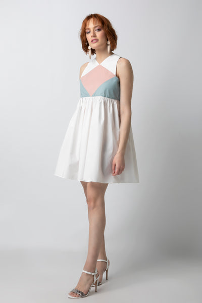 Color-blocked Empire Waisted Mini Dress