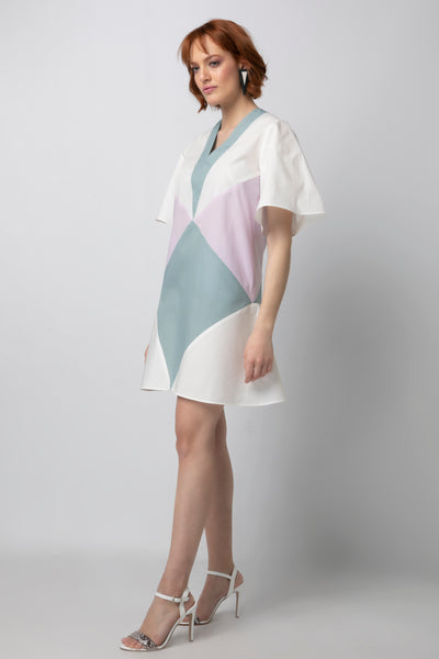 Colorblocked Drop Waist Mini Dress with Bell Sleeves