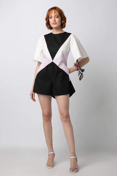 Colorblock Playsuit with Bell Sleeves