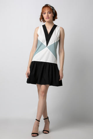 Colorblock Drop Waist Mini Dress