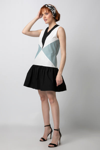 Color-blocked Drop Waist Mini Dress