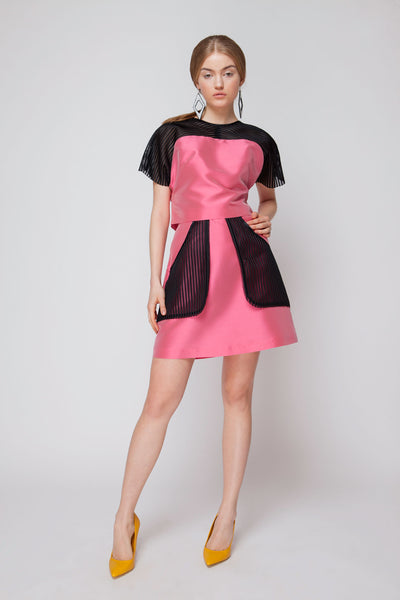 A-line Mini Skirt with black Semitransparent Pouch Pockets