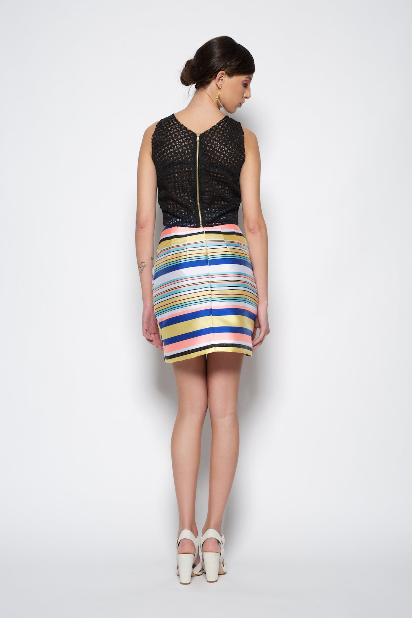 Mini striped multicolored skirt