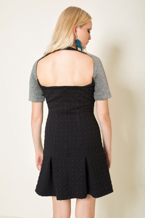 Tennis style lurex | embossed dress with cutouts and open back
