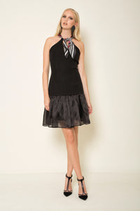 Black crepe|silk organza dress with a signature silk MagnaDi scarf