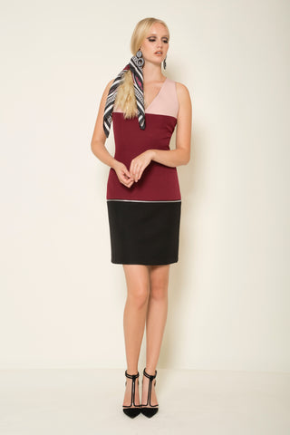 Three-tone crepe mini transformer dress