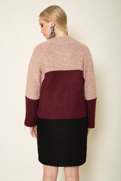 Wool blend three-tone coat with raglan sleeves