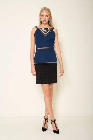 Blue crepe | embossed jersey mini transformer pencil skirt