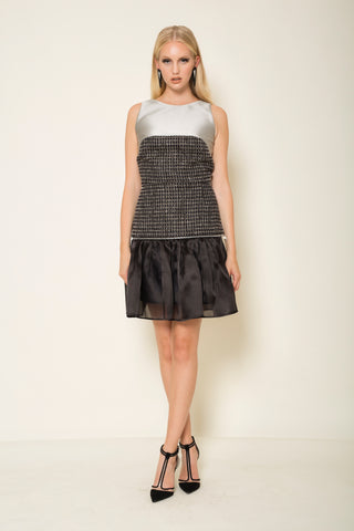 Tweed | silk organza transformer mini skirt