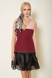 Three-tone crepe mini transformer dress with a silk organza hem