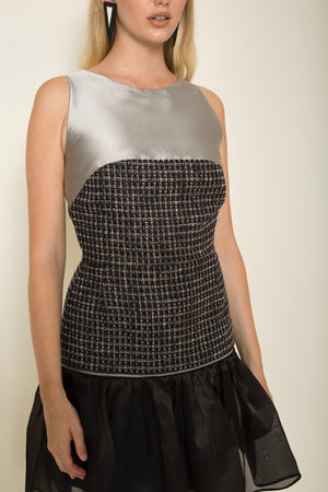 Silver mikado | tweed cropped top