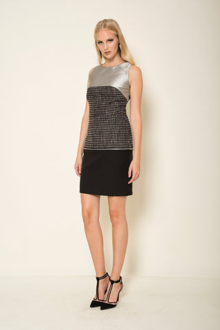 Tweed |crepe transformer mini skirt