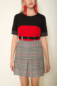 Black|red crepe short sleeved top with silk organza cuffs