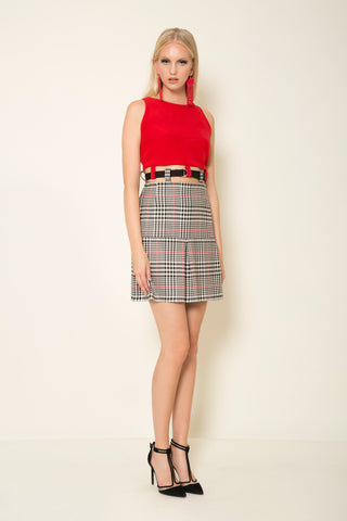 Red crepe satin | prince de galles two piece dress with a herringbone tape belt