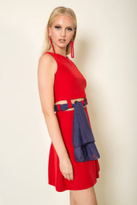 2 in 1 Red crepe satin three piece combo with signature silk MagnaDi scarf