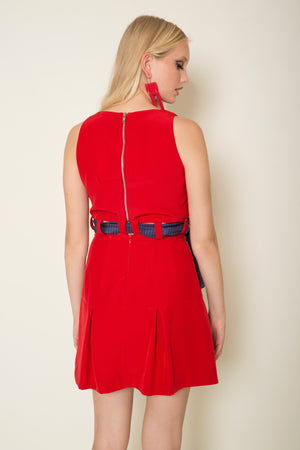 Red crepe two-piece satin mini dress tied with a signature silk MagnaDi scarf