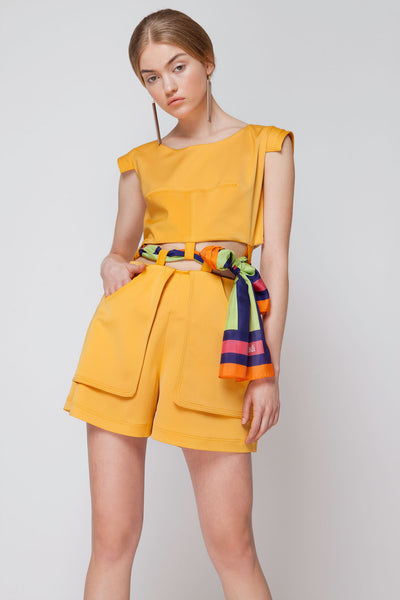 Crepe Playsuit with Cutouts with a Silk MagnaΔi Scarf
