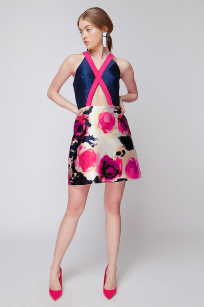 Fuschia/Navy Floral V-Neck Mini Dress with Cutouts
