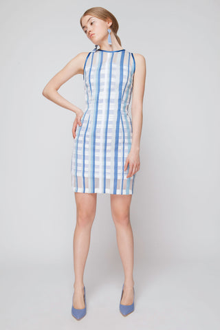 Layered Striped Organza Plaid Dress