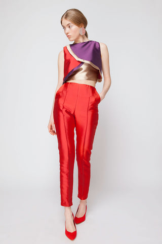 High Waisted Cigarette Pants with Side Pockets