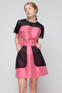Loose Fit Cropped Top with black Semi-transparent Kimono Sleeves