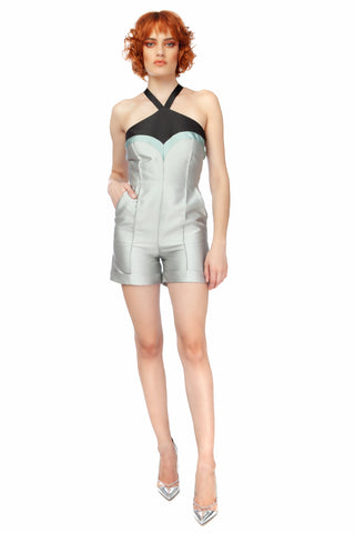 """Gazebo"" Fitted Cuffed Tie Back Playsuit"