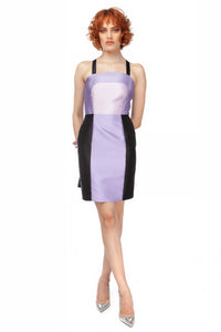 """Alice"" Colorblocked Drop Waist Tie Back Mini Dress"