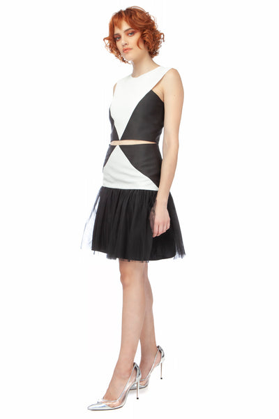 """Card Soldier"" Black + White Drop Waist Mini Skirt"