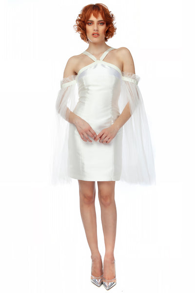"""White Queen"" Cold Shouldered Fitted Mini Dress with Tulle Cape"