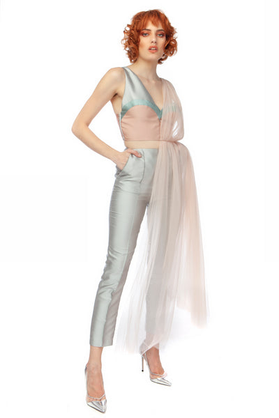 """Fairy Queen"" Asymmetric High Low Tulle Top"