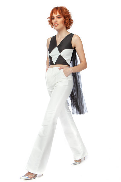 """MAnnequin Harlequin"" High Waisted Boot Cut Pants"