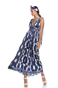 Maxi Satin Dress with Knotted Straps with the [An] motif