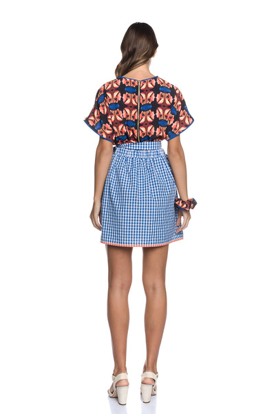 Vichy Checked Two Toned Mini Wrap Skirt