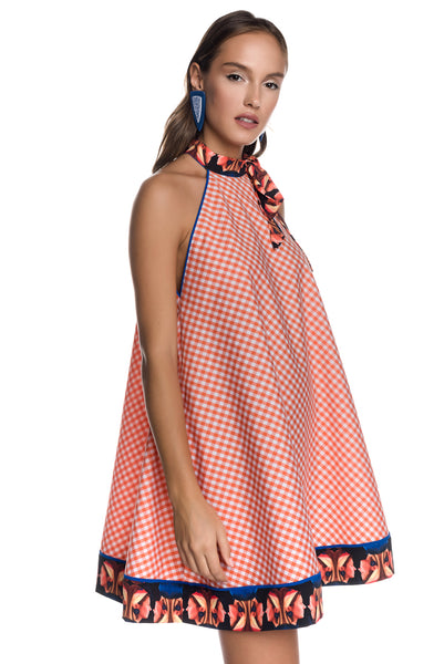 Vichy Check Mini A-line Dress with Side Pockets