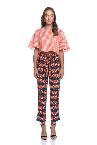 Tie Belt High Rise Cigarette Pants with Side Pockets with [M] Motif