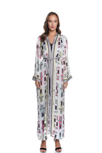 Satin Maxi Kimono Dress with Belt with the [Arch] motif