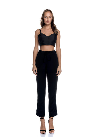 Tie Belt High Rise Cigarette Pants with Side Pockets