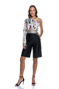 Taffeta Bermuda Shorts with Side Pockets