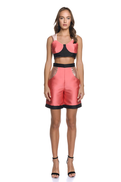Color-blocked Satin Bustier Top with Lace Up Back