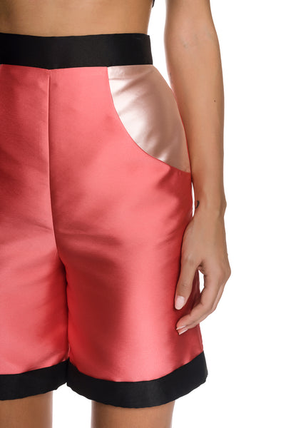 Color-blocked Tafetta Bermuda Shorts with Side Pockets