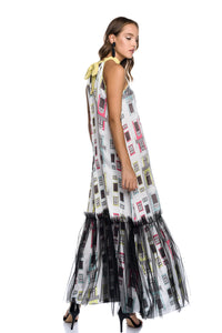 Maxi Satin Halterneck Dress with Tulle Frill with the [Arch] motif