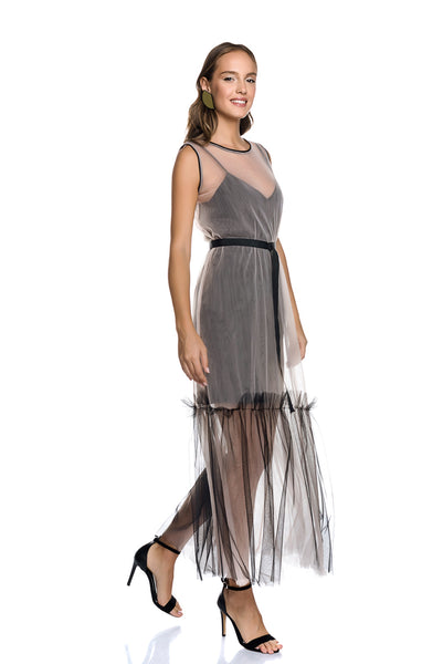 Maxi Dress with Tulle Frill