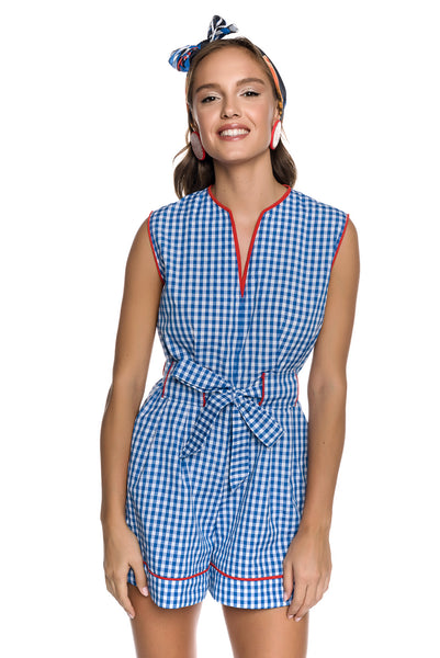 Vichy Check Mini Playsuit with Belt Tie